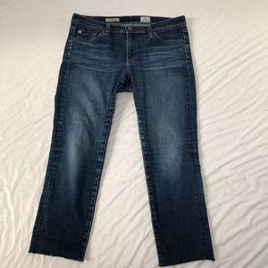 AG The Stilt Skinny Crop Jean with Raw Hem Sz 31 R